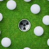Αφηρημένο αθλητικό υπόβαθρο γκολφ της σφαίρας γκολφ και της τρύπας γκολφ στο πράσινο υπόβαθρο χλόης Στοκ Εικόνα