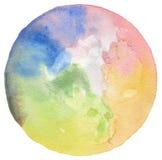 Αφηρημένο ακρυλικό και χρωματισμένο κύκλος υπόβαθρο watercolor Textu Στοκ Φωτογραφία