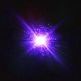Αφηρημένο λαμπυρίζοντας κοσμικό αστέρι λάμψης ελεύθερη απεικόνιση δικαιώματος