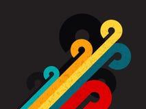Αφηρημένο αναδρομικό υπόβαθρο χρώματος με τον κύκλο και τη γραμμή διανυσματική απεικόνιση