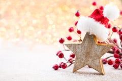 αφηρημένο ανασκόπησης Χριστουγέννων σκοτεινό διακοσμήσεων σχεδίου λευκό αστεριών προτύπων κόκκινο Αστέρι Χριστουγέννων και καπέλο Στοκ φωτογραφίες με δικαίωμα ελεύθερης χρήσης