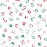 αφηρημένο ανασκόπησης Χριστουγέννων σκοτεινό διακοσμήσεων σχεδίου λευκό αστεριών προτύπων κόκκινο άνευ ραφής σχέδιο με τα εικονίδ διανυσματική απεικόνιση