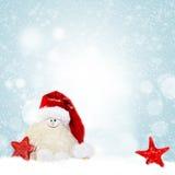 αφηρημένο ανασκόπησης Χριστουγέννων σκοτεινό διακοσμήσεων σχεδίου λευκό αστεριών προτύπων κόκκινο Χιονάνθρωπος στο καπέλο santa Στοκ Φωτογραφίες