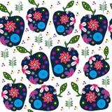 Αφηρημένο αναδρομικό σχέδιο φρούτων με τα μήλα, απεικόνιση διανυσματική απεικόνιση