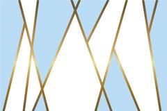 Αφηρημένο ανοικτό μπλε και άσπρο διανυσματικό υπόβαθρο με τις λαμπρές μεταλλικές χρυσές γραμμές μωσαϊκών διανυσματική απεικόνιση