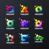 Αφηρημένο αποκλειστικό απομονωμένο διανυσματικό σημάδι λογότυπων Σύνολο απεικόνισης εμβλημάτων Logotype Ψηφιακή δέσμη σχεδιαγράμμ διανυσματική απεικόνιση