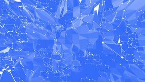 Αφηρημένο απλό μπλε που κυματίζει το τρισδιάστατο πλέγμα ή το πλέγμα ως κυβερνοχώρο Μπλε γεωμετρικό δομένος περιβάλλον ή να κυμαθ διανυσματική απεικόνιση