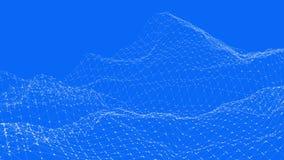 Αφηρημένο απλό μπλε που κυματίζει το τρισδιάστατο πλέγμα ή το πλέγμα ως διαστημικό υπόβαθρο Μπλε γεωμετρικό δομένος περιβάλλον ή  ελεύθερη απεικόνιση δικαιώματος