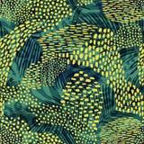 Αφηρημένο γεωμετρικό άνευ ραφής σχέδιο με τη ζωική τυπωμένη ύλη Καθιερώνουσες τη μόδα συρμένες χέρι συστάσεις απεικόνιση αποθεμάτων