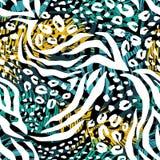 Αφηρημένο γεωμετρικό άνευ ραφής σχέδιο με τη ζωική τυπωμένη ύλη Στοκ Εικόνα