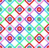 Αφηρημένο γεωμετρικό άνευ ραφής floral σχέδιο ύφους προσθηκών υποβάθρου σχεδίων διανυσματικό με τα ζωηρόχρωμα τετράγωνα και το κα Στοκ Εικόνες
