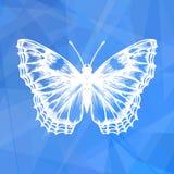 Αφηρημένο γεωμετρικό μπλε υπόβαθρο με την πεταλούδα ελεύθερη απεικόνιση δικαιώματος