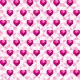 Αφηρημένο γεωμετρικό ρόδινο σχέδιο καρδιών Ελεύθερη απεικόνιση δικαιώματος