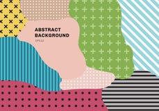 Αφηρημένο γεωμετρικό σχέδιο επικαλύψεων υποβάθρου σχεδίων παφλασμών χρωμάτων του καθιερώνοντος τη μόδα ύφους της δεκαετία του '80 ελεύθερη απεικόνιση δικαιώματος
