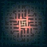 Αφηρημένο γεωμετρικό σχέδιο χρώματος με τη γραφική απεικόνιση του κόσμου, άπειρος, νανο, άτομο, πυρήνας, εσωτερικός διανυσματική απεικόνιση