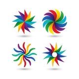 Αφηρημένο γεωμετρικό σύνολο εικονιδίων λογότυπων κύκλων ζωηρόχρωμο ελεύθερη απεικόνιση δικαιώματος