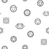 Αφηρημένο γεωμετρικό υπόβαθρο, επτά ανθρώπινα chakras Στοκ φωτογραφία με δικαίωμα ελεύθερης χρήσης