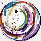 Αφηρημένο γεωμετρικό υπόβαθρο κύκλων, με τα κτυπήματα και τους παφλασμούς Στοκ φωτογραφία με δικαίωμα ελεύθερης χρήσης