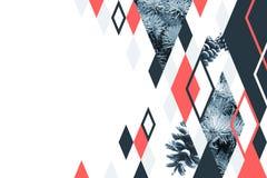 Αφηρημένο γεωμετρικό υπόβαθρο με firtree το κολάζ Στοκ φωτογραφίες με δικαίωμα ελεύθερης χρήσης