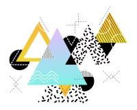 Αφηρημένο γεωμετρικό υπόβαθρο στα γραπτά χρώματα και με τις φωτεινές χρωματισμένες εμφάσεις ελεύθερη απεικόνιση δικαιώματος