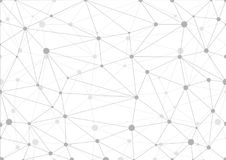 Αφηρημένο γκρίζο γεωμετρικό υπόβαθρο με το χάος των συνδεδεμένων γραμμών και των σημείων