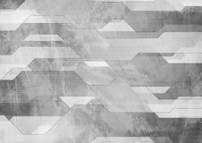 Αφηρημένο γκρίζο γεωμετρικό υπόβαθρο τεχνολογίας grunge απεικόνιση αποθεμάτων