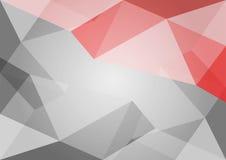 Αφηρημένο γκρίζο και κόκκινο υπόβαθρο πολυγώνων Στοκ Φωτογραφία