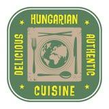 Αφηρημένο γραμματόσημο με την αυθεντική ουγγρική κουζίνα κειμένων γραπτή Στοκ Φωτογραφία