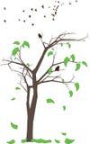 αφηρημένο δέντρο φύλλων πουλιών φθινοπώρου Στοκ Εικόνες