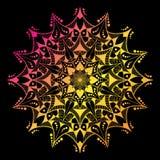 αφηρημένο διάνυσμα ανασκόπ& Mandala στο ζωηρόχρωμο υπόβαθρο κυμάτων ελεύθερη απεικόνιση δικαιώματος