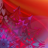 αφηρημένο διάνυσμα ανασκόπ& Mandala στο ζωηρόχρωμο υπόβαθρο κυμάτων διανυσματική απεικόνιση