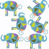 Αφηρημένο διανυσματικό άνευ ραφής σχέδιο ελεφάντων ζώων Είναι εντοπίζει Στοκ Εικόνα