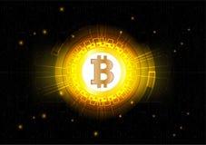 Αφηρημένο διανυσματικό υπόβαθρο του ψηφιακού νομίσματος Bitcoin για την τεχνολογία, την επιχείρηση και on-line το μάρκετινγκ Στοκ Εικόνα