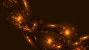 Αφηρημένο διαστημικό υπόβαθρο με τις κίτρινες φωτεινές κυματιστές γραμμές και τις ελαφριούς φλόγες και τους αστερίσκους Χρυσά αστ Στοκ φωτογραφία με δικαίωμα ελεύθερης χρήσης