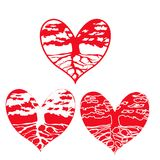 Αφηρημένο εικονίδιο δέντρων με το στοιχείο καρδιών Στοκ Εικόνες