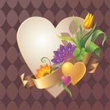 Αφηρημένο εκλεκτής ποιότητας floral έμβλημα καρδιών με τη χρυσή ετικέττα κορδελλών Στοκ Φωτογραφίες