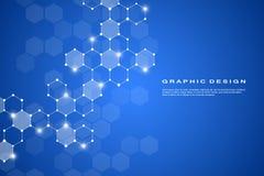Αφηρημένο εξαγωνικού γενετικού και χημικού ενώσεων σύστημα υποβάθρου μορίων, Γεωμετρική γραφική παράσταση και συνδεδεμένες γραμμέ Στοκ Εικόνες