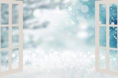 Αφηρημένο εορταστικό αποκλεισμένο από τα χιόνια τοπίο Ανοικτό παράθυρο με την άποψη διανυσματική απεικόνιση