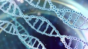 Αφηρημένο επιστημονικό υπόβαθρο με τις σπείρες DNA στο μπλε διάστημα στοκ εικόνα με δικαίωμα ελεύθερης χρήσης