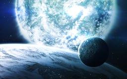 Αφηρημένο επιστημονικό υπόβαθρο - πλανήτες στο διάστημα, το νεφέλωμα και τα αστέρια Στοιχεία αυτής της εικόνας που εφοδιάζεται απ Στοκ εικόνες με δικαίωμα ελεύθερης χρήσης
