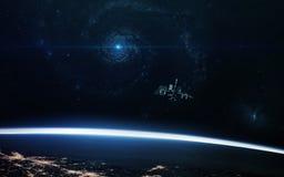 Αφηρημένο επιστημονικό υπόβαθρο - πλανήτες στο διάστημα, το νεφέλωμα και τα αστέρια Στοιχεία αυτής της εικόνας που εφοδιάζεται απ Στοκ Φωτογραφίες