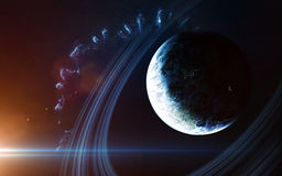 Αφηρημένο επιστημονικό υπόβαθρο - πλανήτες στο διάστημα, το νεφέλωμα και τα αστέρια Στοιχεία αυτής της εικόνας που εφοδιάζεται απ Στοκ φωτογραφία με δικαίωμα ελεύθερης χρήσης