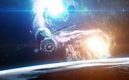 Αφηρημένο επιστημονικό υπόβαθρο - πλανήτες στο διάστημα, το νεφέλωμα και τα αστέρια Στοιχεία αυτής της εικόνας που εφοδιάζεται απ Στοκ φωτογραφίες με δικαίωμα ελεύθερης χρήσης