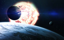 Αφηρημένο επιστημονικό υπόβαθρο - πλανήτες στο διάστημα, το νεφέλωμα και τα αστέρια Στοιχεία αυτής της εικόνας που εφοδιάζεται απ Στοκ Φωτογραφία