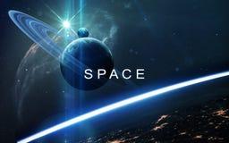 Αφηρημένο επιστημονικό υπόβαθρο - πλανήτες στο διάστημα, το νεφέλωμα και τα αστέρια Στοιχεία αυτής της εικόνας που εφοδιάζεται απ Στοκ εικόνα με δικαίωμα ελεύθερης χρήσης