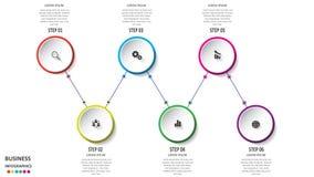 Αφηρημένο επιχειρησιακό infographics υπό μορφή χρωματισμένων μορφών που συνδέονται το ένα με το άλλο με τις γραμμές και τα βήματα στοκ εικόνα