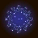Αφηρημένο εργαλείο εικόνας ή cogwheel των polygonal καμμένος γραμμών, των σημείων και των αστεριών στο άσπρο υπόβαθρο Στοκ Φωτογραφία
