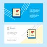 Αφηρημένο εταιρικό πρότυπο επιχειρησιακών εμβλημάτων ημερολογίων αγάπης, οριζόντιο επιχειρησιακό έμβλημα διαφήμισης απεικόνιση αποθεμάτων