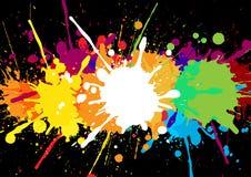 Αφηρημένο ζωηρόχρωμο έμβλημα με τους λεκέδες και τα splatters χρωμάτων σε ένα BL Στοκ Φωτογραφία