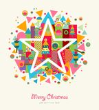 Αφηρημένο ζωηρόχρωμο αναδρομικό αστέρι Χαρούμενα Χριστούγεννας Στοκ Εικόνες